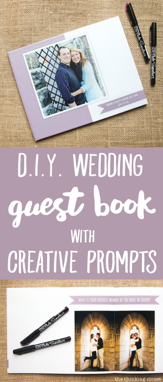 DIY Wedding Guest Book: How to use creative writing prompts to elicit thoughtful messages from wedding guests (instead of stress-outs over the blank page). Here's the process of DIYing the album using AdoramaPix and creating a professional-looking photo guest book with lay-flat pages. A keepsake for the bride and groom for years to come!