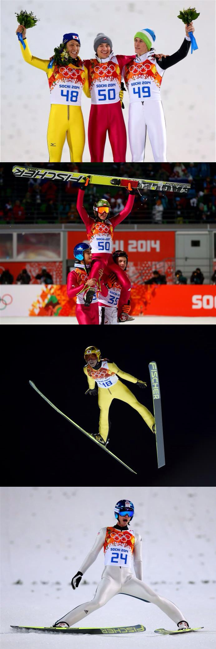 Ski Jumping Men's Large Hill Individual/ Silver medalist Noriaki Kasai (L) of Japan, gold medalist Kamil Stoch (C) of Poland and bronze medalist Peter Prevc (R) of Slovenia celebrate on the podium during the flower ceremony after the Men's Large Hill Individual Final Round on day 9 of the Sochi 2014 Winter Olympics at the RusSki Gorki Ski Jumping Center