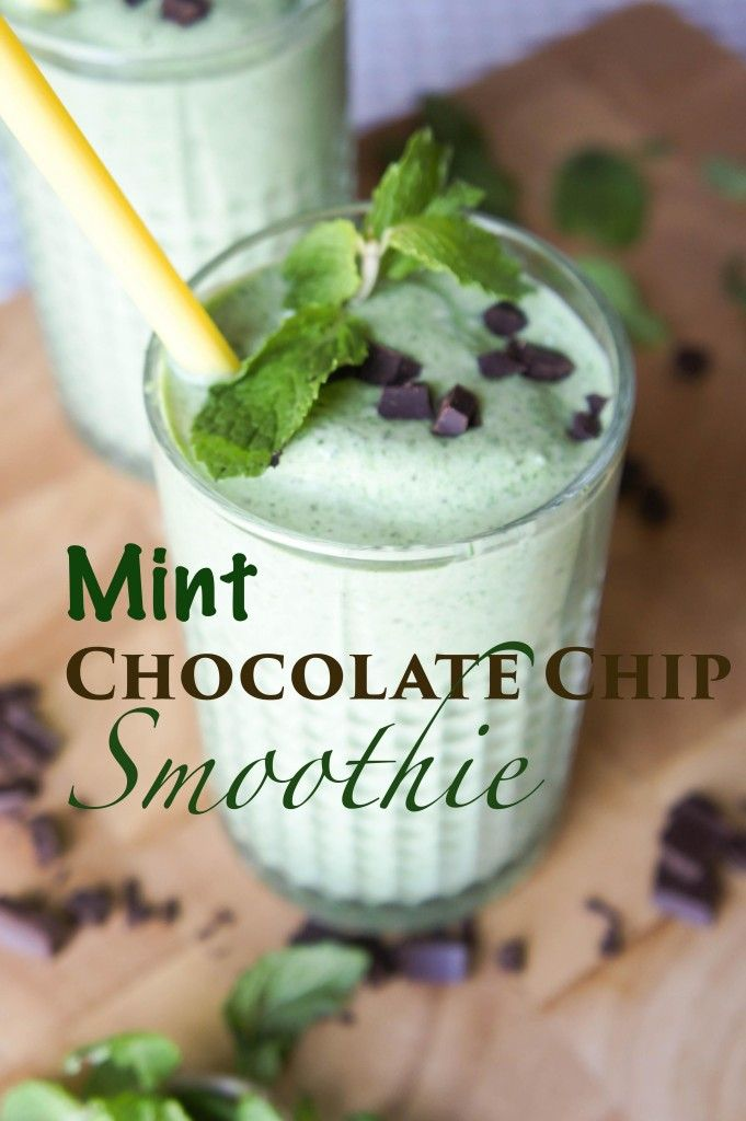 MINT CHOCOLATE CHIP SMOOTHIE Ingredients ¼ cup plain yogurt ¼ cup coconut milk (canned) 1 cup frozen spinach (or 3-4 cups fresh) ½ cup ice cubes (4-5 large cubes) ½ medium banana (or a whole, if you'd like it sweeter!) 1 tablespoon plain whey protein ½ teaspoon peppermint extract 1 teaspoon honey (optional) 1 tablespoon dark chocolate chips