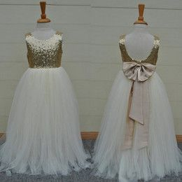 Discount White Dress Formal 4t Real Sample High Quality Flower Girls Dresses Sparkly Gold Sequins Kids Long Formal Wedding Party Gowns Sleeveless Open Back Bow Sash