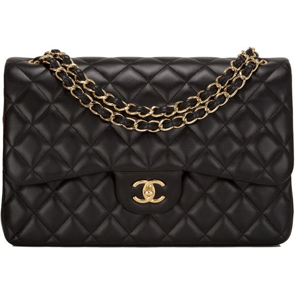 Pre-Owned Chanel Black Quilted Lambskin Jumbo Classic Double Flap Bag ($7,550) ❤ liked on Polyvore featuring bags, handbags, black, quilted handbags, pre owned handbags, quilted purses, chanel purse and flap purse