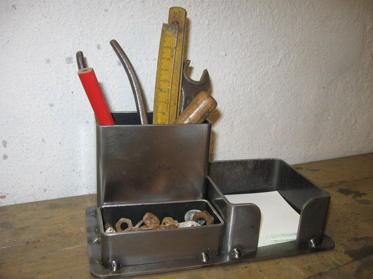 Industrial Steel Pencil Organizer - Polished design; $20