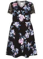 Womens DP Curve Plus Size Multi Coloured Floral Print Skater Dress- Fl Multi