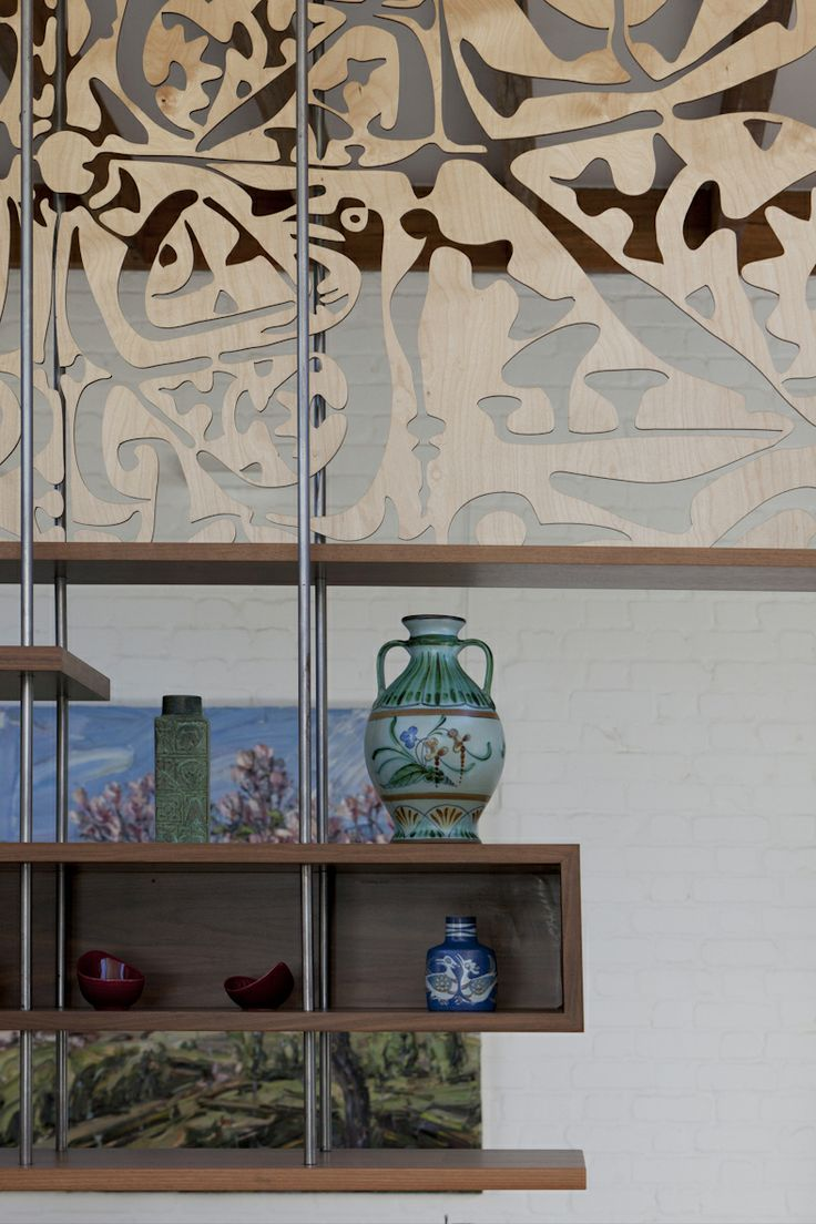 laser cut plywood screen hanging shelves