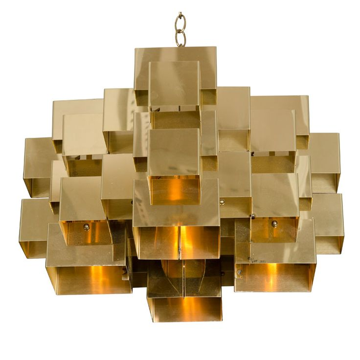 Polished Brass Cubist Chandelier by Curtis Jere
