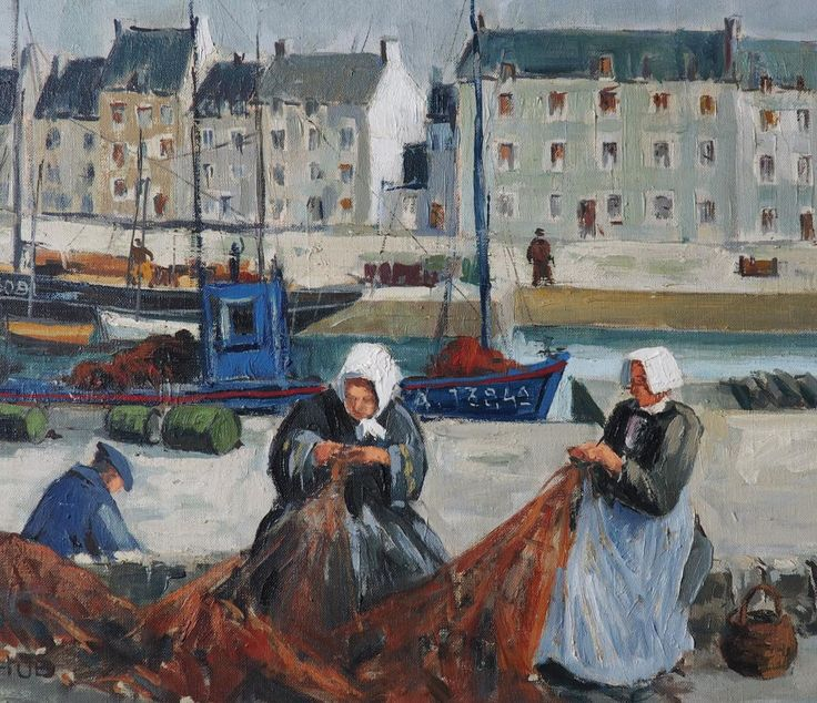 """Marcel Hue, """"Port d'Audierne, la Ramendeuse de Filets"""""""