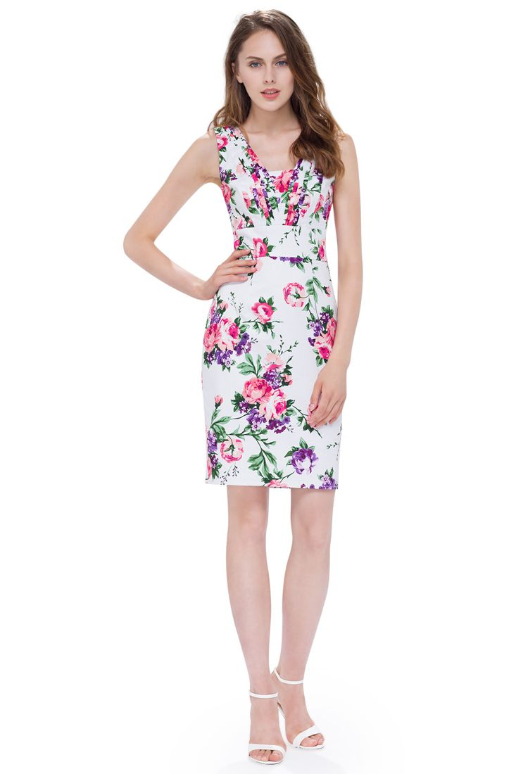 White and Pink Floral Pencil Dress | Floral Pencil Dresses Online.