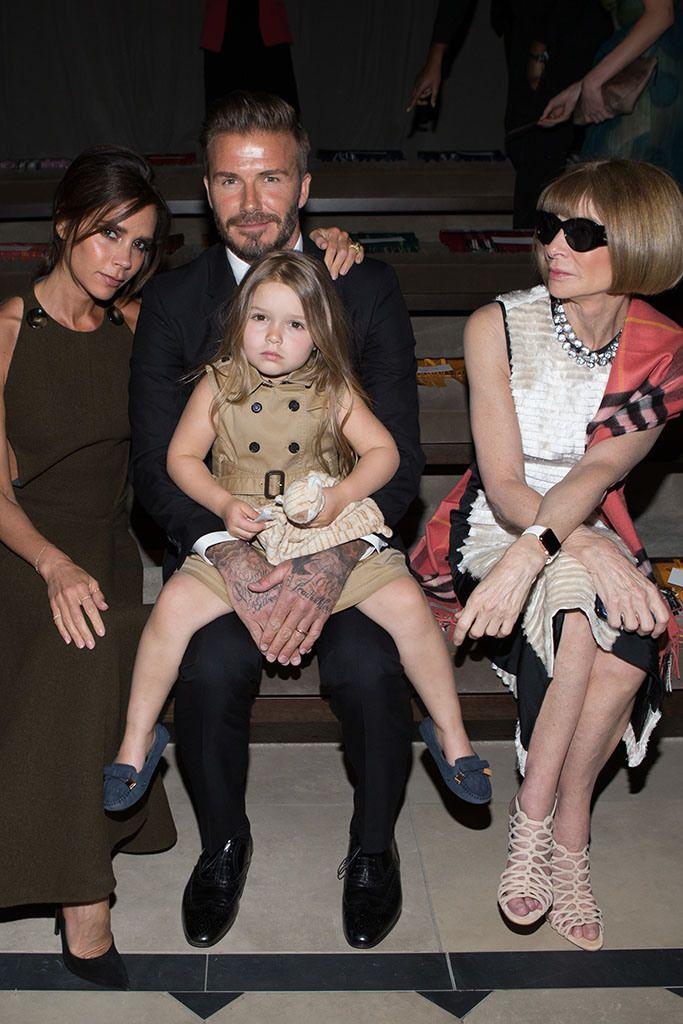Victoria, David and Harper Beckham with Anna Wintour. [Photo by Katie Jones]