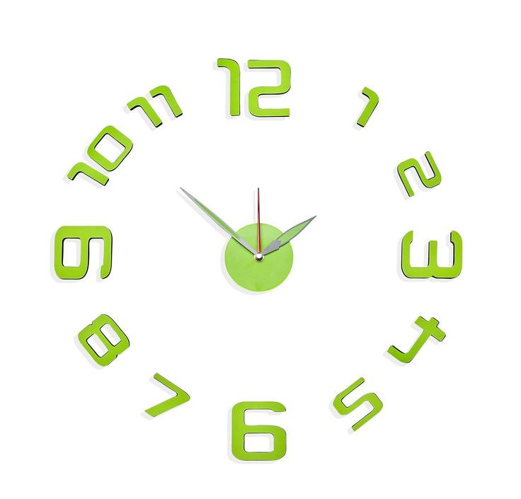 Stick-on Glow Electric Lime Green Wall Clock DУТЉcor