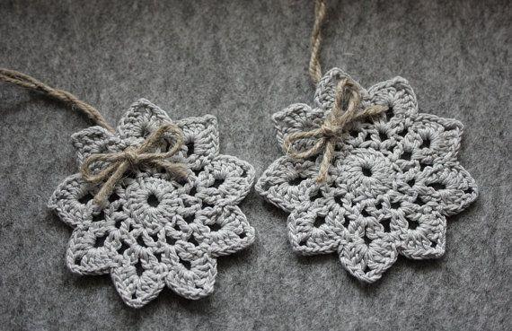 Crochet Christmas tree ornaments   crochet snowflakes by CreamKnit