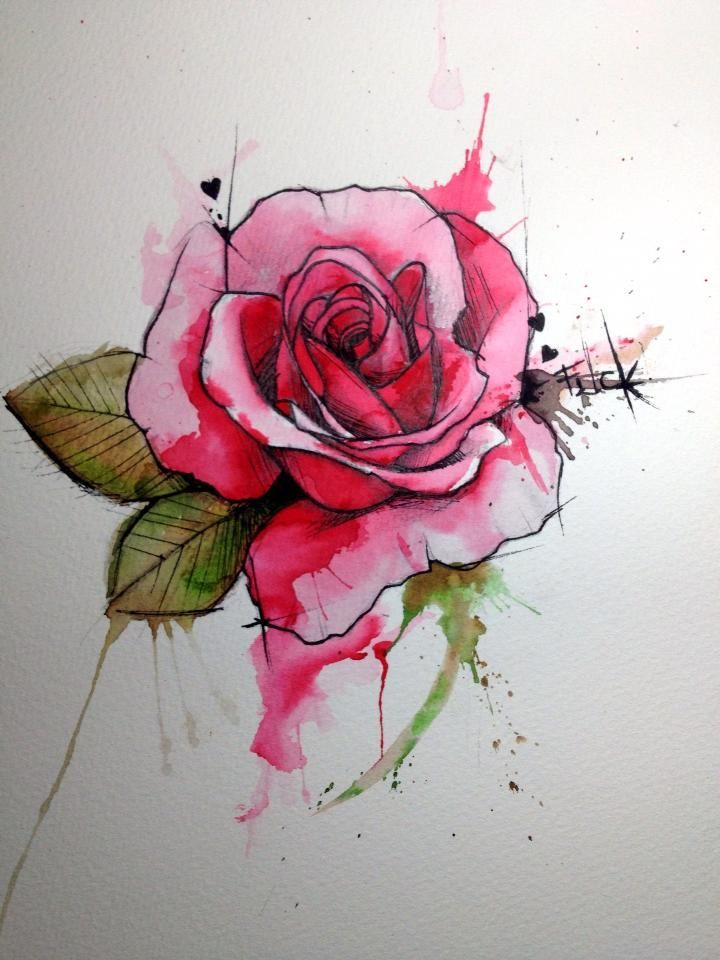 Gorgeous watercolor rose tattoo. Itd be a fun detail to incorporate into an even bigger tattoo.