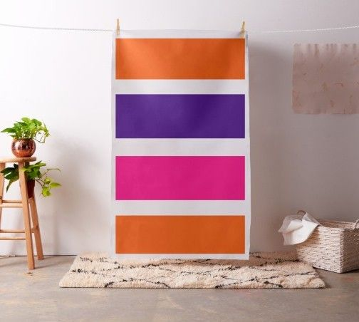 Neon orange, deep purple and hot pink striped fabric #homedecor #material