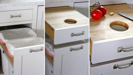Удобная разделочная доска с мусорным ведром на кухне