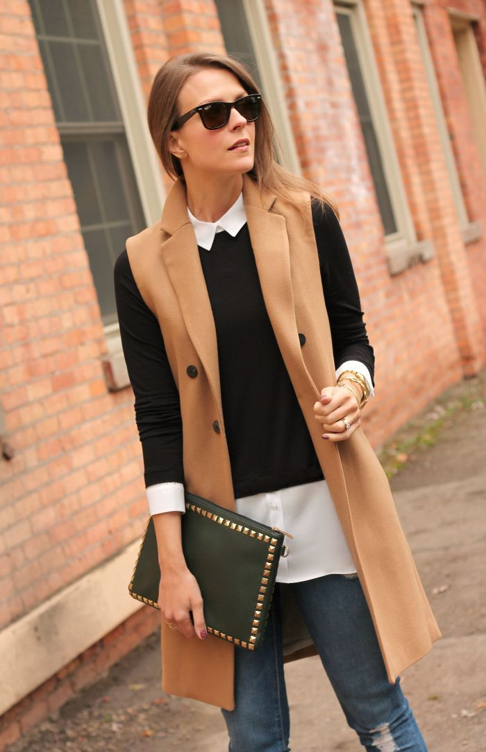 camel sleeveless coat with layers