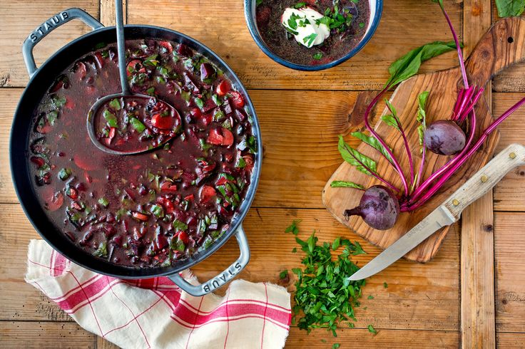This lighter, vegetarian version of hot borscht has the depth of flavor that a meaty backdrop provides, without overpowering the winelike, heady flavor of the beets.