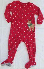 Carter's Baby Girls Red Polka Dot Reindeer Christmas Set Up One Piece Sleeper 2T