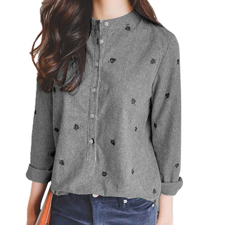Autumn Leaves Embroidery Long Sleeve Women Blouses Shirts Ladies Casual Tops Striped Plus Size Blusas
