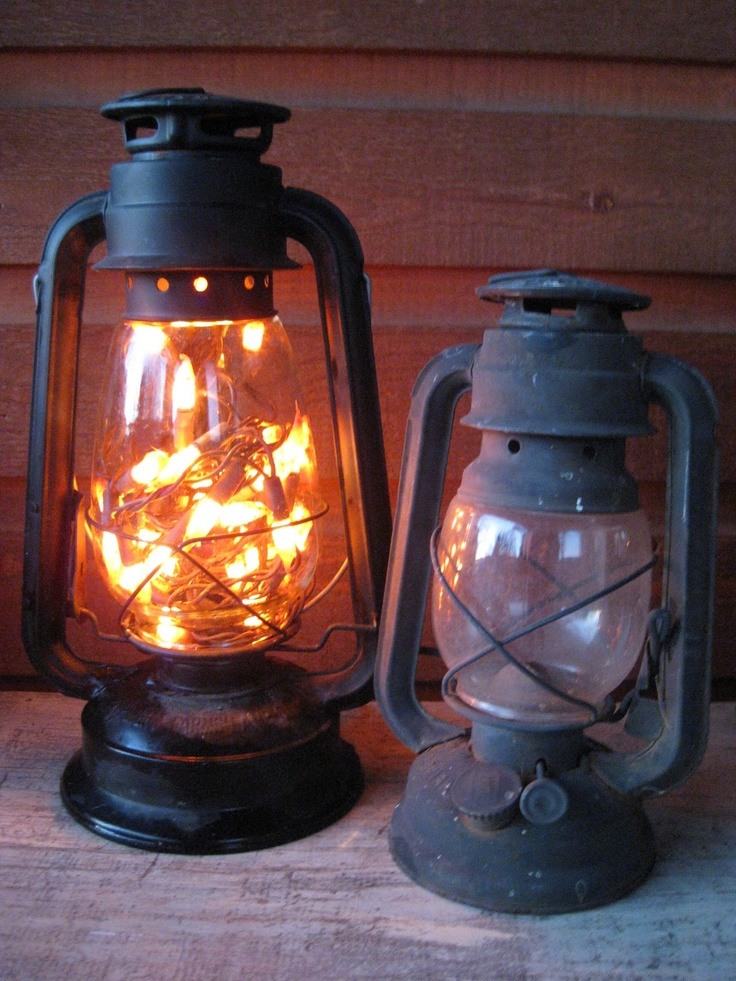 .old lantern.   battery opereated lights inside.  No plug needed and cute decor!