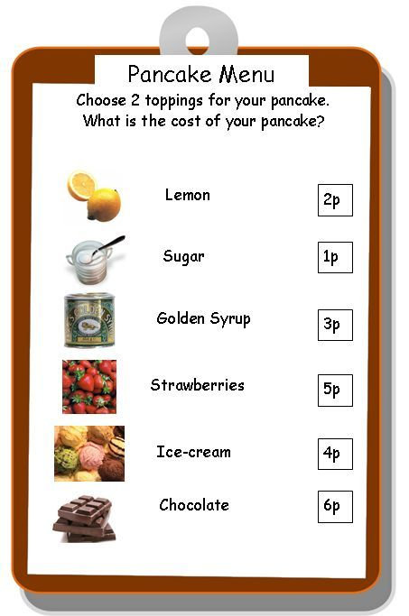 Numeracy - Money - Pancake toppings - Numeracy activity involving money linked to pancake day.