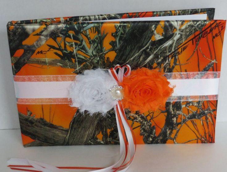 Orange Blaze Camo Guest Book , True Timber MC2 Orange Camo Wedding Guest Book