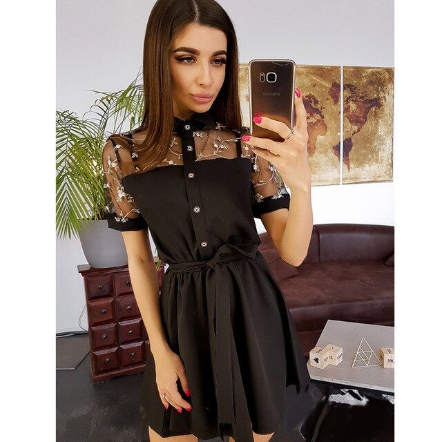 Women dot sashes lace patchwork dress lady casual turndown collar mini dress women short a line dress
