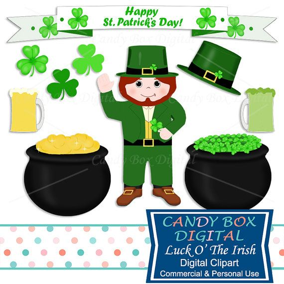 St Patricks Day Clipart by CandyBoxDigital. Leprechaun, pot of gold, beer, shamrocks. Great for digital scrapbooks and journals, blogs and websites, graphic designs, invitations, and all kinds of paper craft applications. At our Etsy shop.