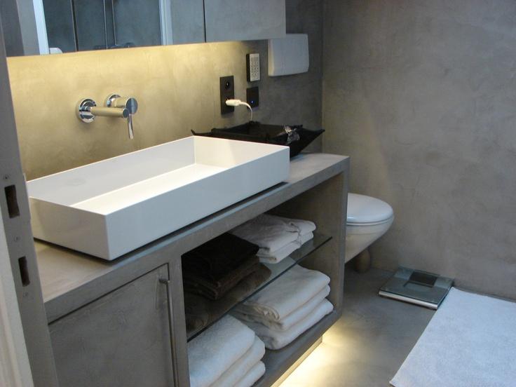 Transformation salle de douche meuble sol mur cabine douche en b ton cir chambre de bain - Transformation salle de bain en douche ...