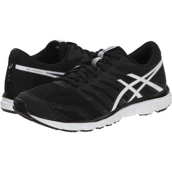 ASICS Gel-Zaraca 4 (Black/White/Silver) Women's Running Shoes ($41) ❤ liked on Polyvore featuring shoes, athletic shoes, black, asics, black lace up shoes, black and white running shoes, white and black shoes and running shoes