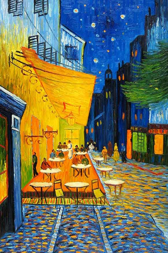 Van Gogh, Café Terrace at Night, 1888. His paintings are stunningly vivid in the gallery.