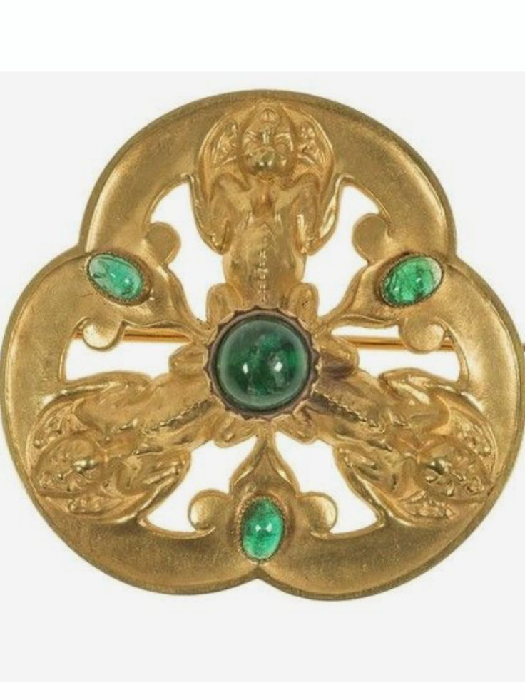 René Lalique Brooch: gold w/emerald cabochons, 1895 | opac.lesartsdecoratifs.fr
