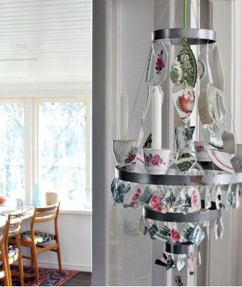 Porcelain chandelier #recycling #craft