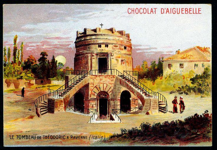 French Tradecard - Theodoric's Mausoleum  Chocolat Aiguebelle, Ancient Monuments series, c1910. Theodoric's Mausoleum, Ravenna, Italy - Flickr by @cigcardpix [ #ravenna #myRavenna #illustrator #vintage #posters]