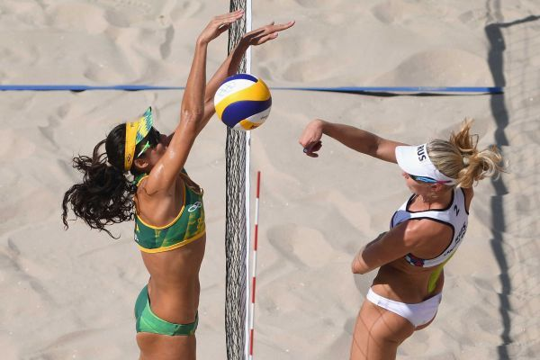 Talita Rocha of Brazil in action against Evgenia Ukolova of Russia during the women's beach volleyball preliminary round Pool A match on Day 2 of the Rio 2016 Olympic Games at the Beach Volleyball Arena on Aug. 7, 2016 in Rio de Janeiro, Brazil.