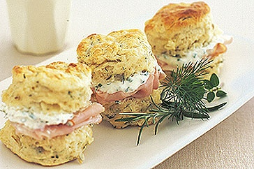 Herb and Cheese Scones with Chive Cream.