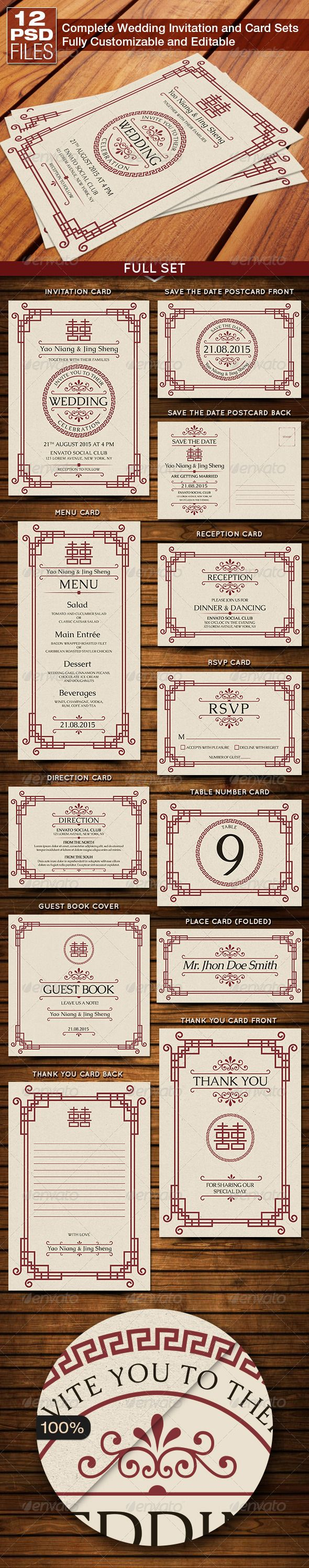 Oriental Style Wedding Invitation and Card Sets — Photoshop PSD #marriage #adorable • Available here → https://graphicriver.net/item/oriental-style-wedding-invitation-and-card-sets/8318033?ref=pxcr