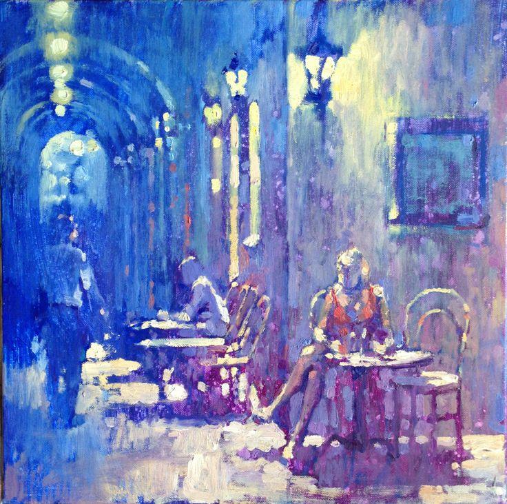 Separate Tables, Rue de Rivoli, Paris. Oil on canvas 45 x 45cm