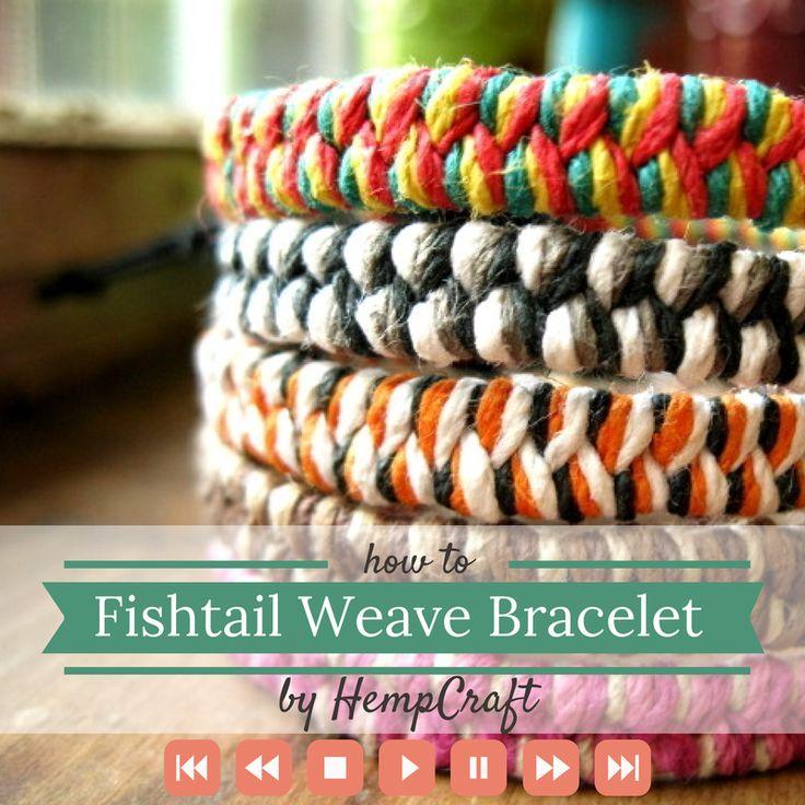 How to make a woven fishtail bracelet using hemp string or yarn by HempCraft https://www.youtube.com/watch?v=yGJOL5TfvFo