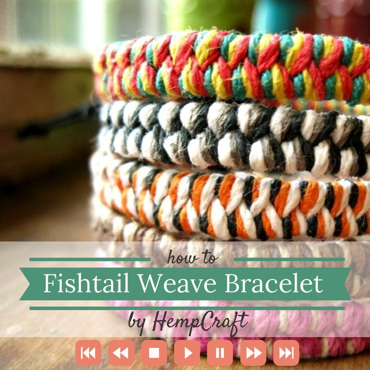 How to make a woven fishtail bracelet using hemp string or yarn by HempCraft https://www.youtube.com/watch?v=yGJOL5TfvFo