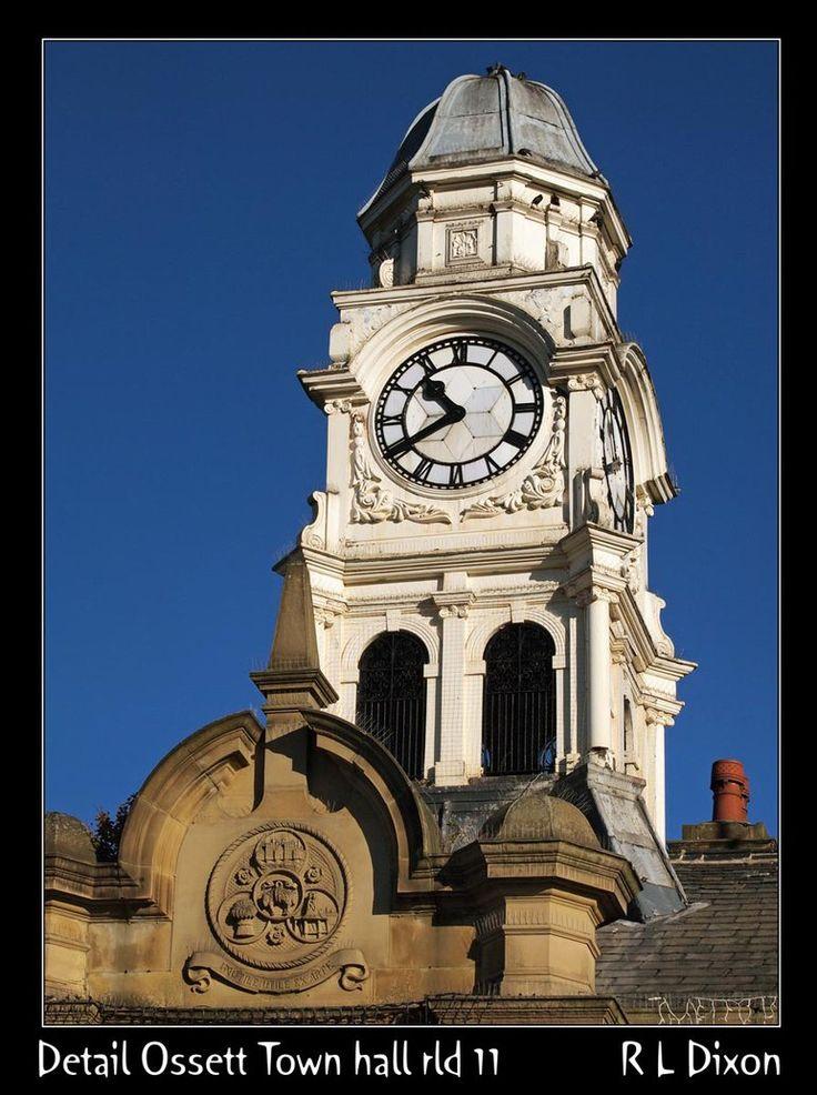 Clock tower on the Ossett Town Hall building - photo by richardldixon, via deviantART;  Ossett, West Yorkshire, England