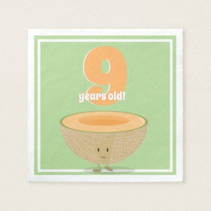 Birthday Cantaloupe   Paper Napkin - drawing sketch design graphic draw personalize