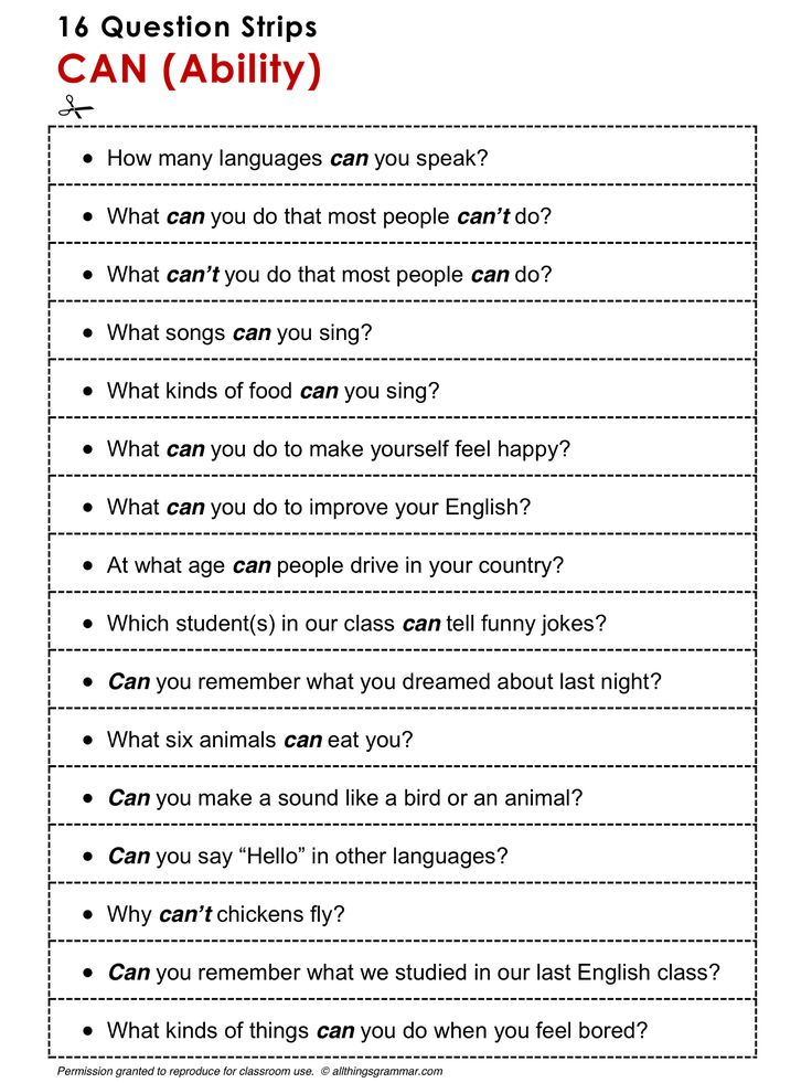 English Grammar Discussion Practice, Can (Ability), 16 Question Strips, http://www.allthingsgrammar.com/can-and-could.html