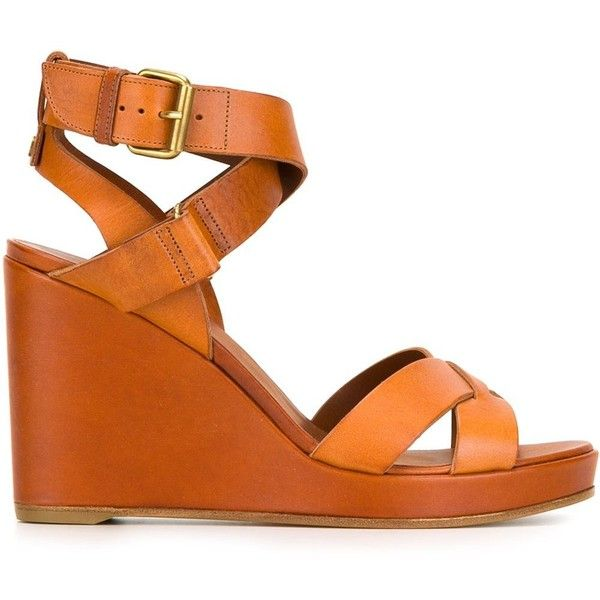 Michel Vivien Wedge Sandals ($861) ❤ liked on Polyvore featuring shoes, sandals, real leather shoes, genuine leather shoes, michel vivien, orange leather shoes y wedge heel shoes