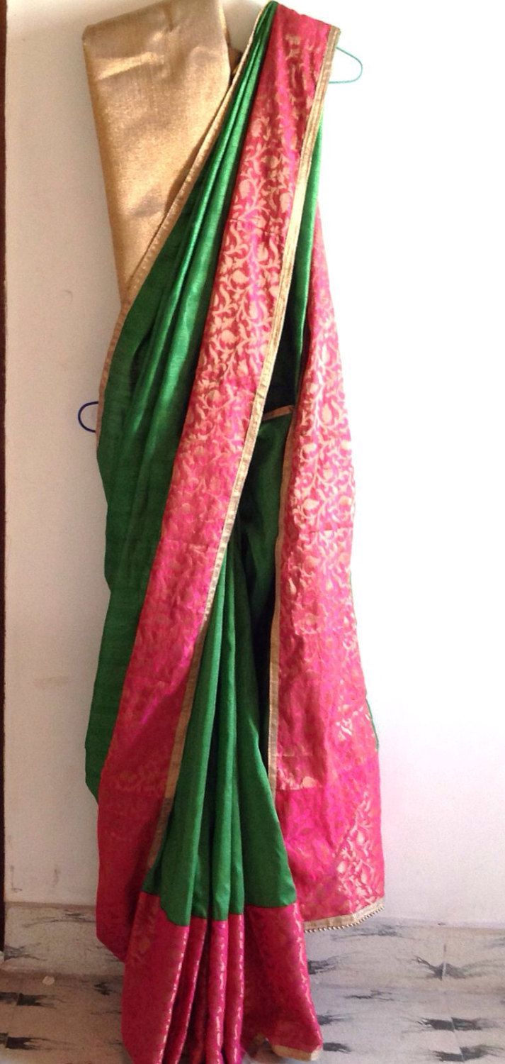 Green semi silk saree with pin and orange doule shaded brocade trim and gold unstitched blouse by GiaExquisiteIndian on Etsy