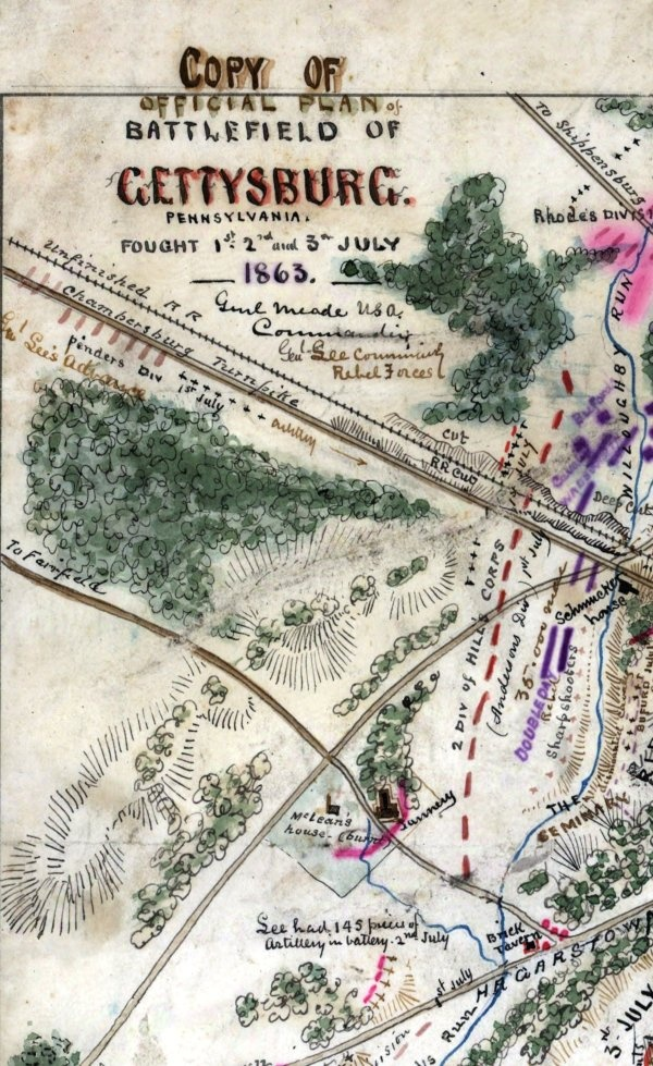 Copy of official plan of Gettysburg. Pennsylvania, fought 1st, 2nd, 3rd July 1863. Map drawn by Robert Knox Sneden (1832-1918).   Map attempts to show the locations of various units during each day of the battle. All major landmarks are indicated.    Explore the map at http://zoom.it/kL2r