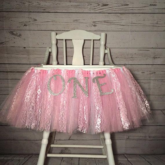 High Chair Tutu - High Chair Skirt - Highchair tutu - Highchair skirt - Pink and White 1st Birthday- Pink High Chair Tutu- High Chair Banner