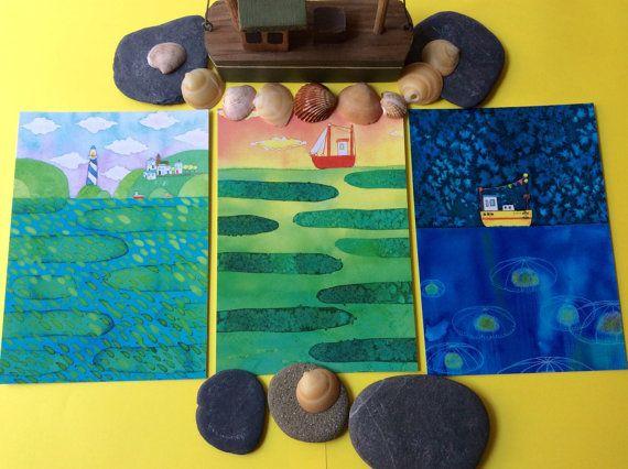 Handmade watercolour postcard set of 3 by EllenCurgenvenArt