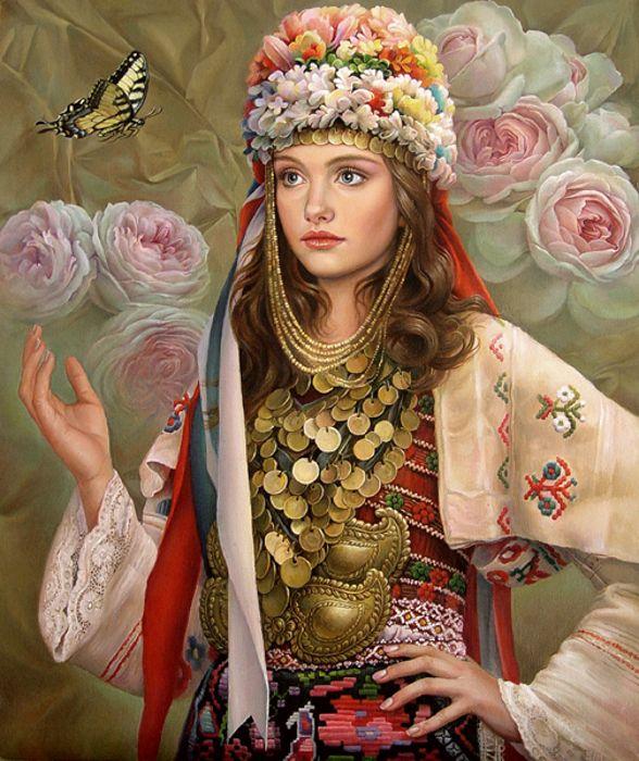 Bulgarian artwork showing traditional garments