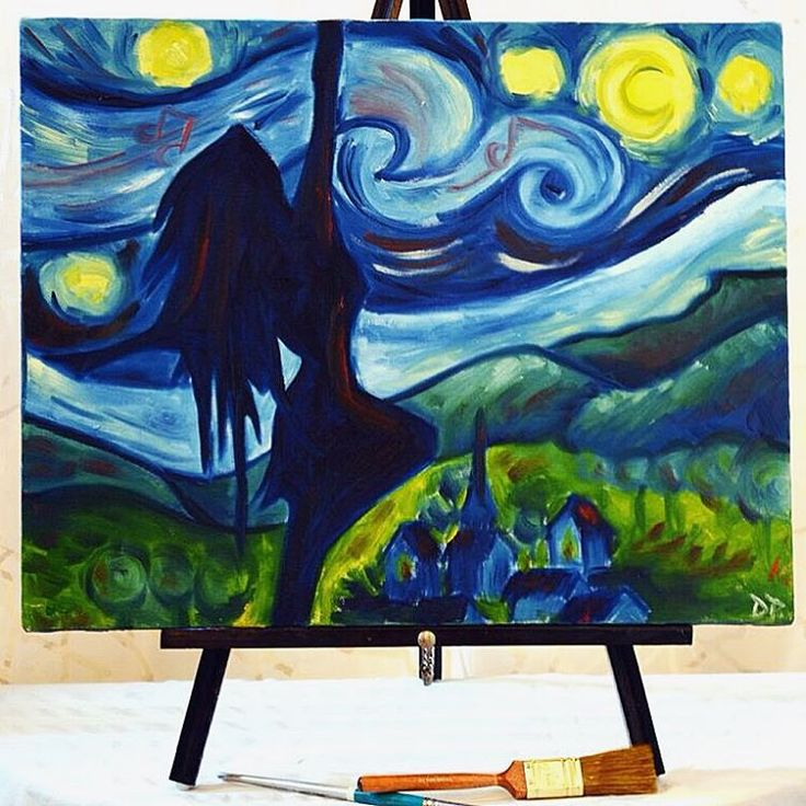 "A starry night: a dancer's remake"" Oil Painting on Canvas"