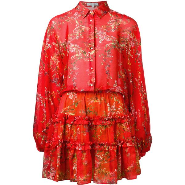 Alexis floral print shirt dress (1.895 BRL) ❤ liked on Polyvore featuring dresses, red, t-shirt dresses, floral printed dress, floral pattern dress, flower print dress and red floral dress