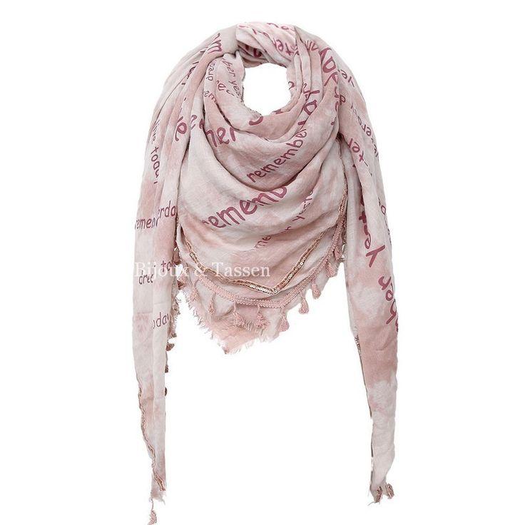 Ruime sjaal zalm/bordeaux met tekstprint